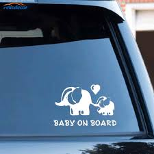 Black Silver Cute Car Sticker Baby On Board Elephant Mother And Baby Accessories Waterproof Vinyl Decal C421 Aliexpress