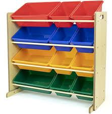 Amazon Com Humble Crew Natural Primary Kids Toy Storage Organizer With 12 Plastic Bins Furniture Decor