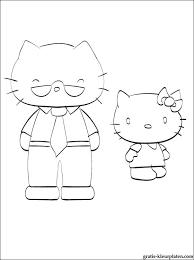 Kleurplaat Van Hello Kitty En Haar Vader Gratis Kleurplaten