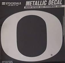 Amazon Com Oregon Ducks 12 Large Silver Metallic Vinyl Auto Decal University Of Sports Outdoors