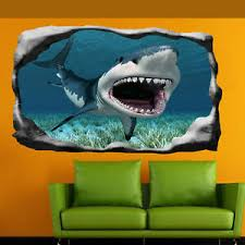 Great White Shark Jaws Wall Stickers 3d Art Poster Mural Kids Boys Bedroom Su4 Ebay