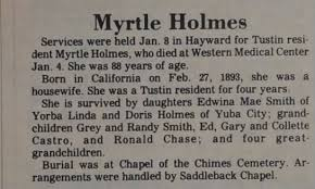 Obituary for Myrtle Holmes (Aged 88) - Newspapers.com