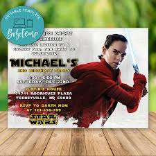 Editable Rey Star Wars La Ultima Invitacion De Cumpleanos Jedi