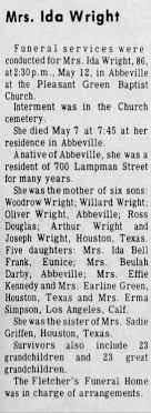 Obituary for Ida Wright (Aged 86) - Newspapers.com