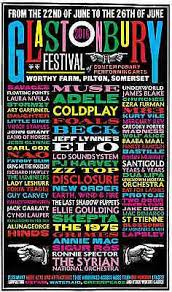 COLDPLAY - MUSE - ADELE - BECK - COLOURFUL GLASTONBURY 2016 CONCERT POSTER  | eBay