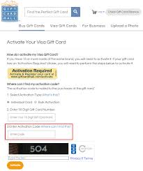 activate my vanilla visa gift card