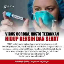 virus corona hasto tekankan hidup bersih dan sehat