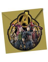 6 Tarjetas De Invitacion Con Sobres Avengers Infinity War