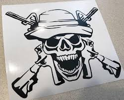For X2 Veteran Boonie Skull Decal Sticker Army Usmc Navy Air Force 3 Combat Veteran Car Stickers Aliexpress
