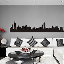 Amazon Com Vinyl Chicago Wall Decal Chicago City Wall Decor Chicago Skyline Wall Sticker Wall Mural Wall Graphic Living Room Wall Decor Black Home Kitchen