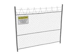 3d Asset Damaged Metal Fence With Sign Cgtrader