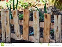 A Small Wooden Fence Encloses A Flower Bed In The Park Stock Photo Image Of Oblique Count 118788566