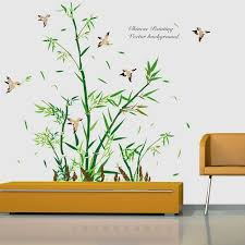 Green Bamboo Wall Stickers Pvc Material Bamboo And Birds Wall Decal For Living Room Sofa Tv Background Wall Decoration Wallpaper Bird Wall Decal Wall Decalsbamboo Wall Stickers Aliexpress