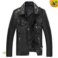 mens black leather shirt collar er