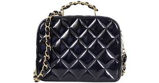 chanel leather black patent 2way lunch