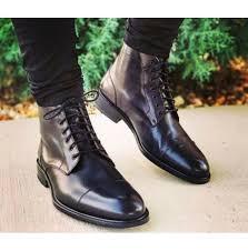 mens black cap toe ankle high boots