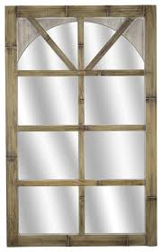 distressed bamboo arched window mirror