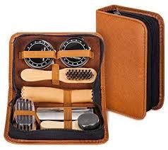 shoe shine kit with pu leather