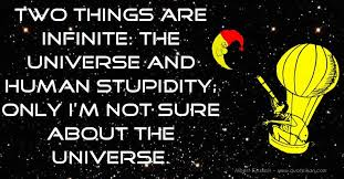 two things are infinite the universe and human stupidity