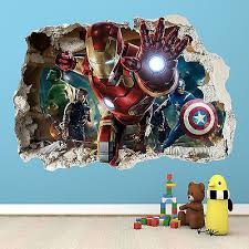 Ironman Smashed Wall Sticker 3d Bedroom Avengers Hulk Boys Girls Decal Superhero Room Avengers Room Marvel Bedroom
