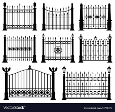 Decorative Wrought Fences And Gates Set Royalty Free Vector