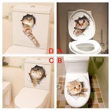 3d Cat Wall Toilette Decal Freakypet