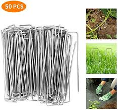 Bybot 50 Pack 6 Inch Galvanized Garden Landscape Stakes For Weed Barrier Fabric Ground Cover Sod Fence Stake Soaker Hose Lawn Drippers Amazon Co Uk Garden Outdoors