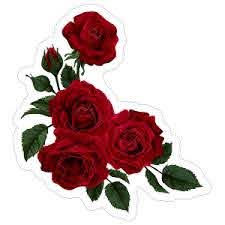 Deep Red Roses Flower Stickers