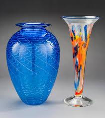 2 art glass vases incl matthew larwood