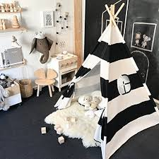 Tiny Land Kids Teepee Tent For Boys Black And White Stripe Children Play Tent With Canvas Carry Case For Indoor Garden Walmart Com Walmart Com