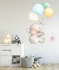 Elephant Balloons Watercolor Wall Decal Sticker Baby Nursery Art Decor Pink Forest Cafe