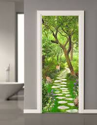 3d Forest Path Sika Deer Self Adhesive Living Room Door Murals Wall Stickers Ebay