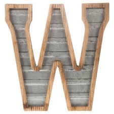 wood galvanized metal letter w