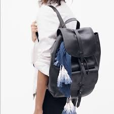 transport black leather backpack