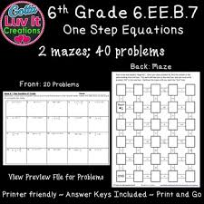 one step equations worksheet no