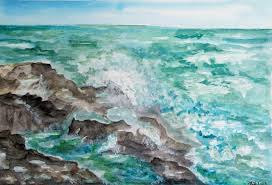Waves Cliffs Seascape Original Watercolor Painting by Adriana Holmes |  #1859593964