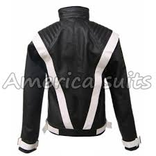 white stripes leather jacket