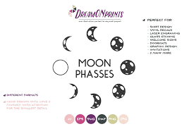 Moon Phases Svg Full Moon Svg Crescent Moon Svg Font Market