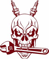 Auto Mechanic Skull Spark Plug Wrench Tools Garage Shop Vinyl Decal Sticker Skull Decal Vinyl Decal Stickers Car Mechanic