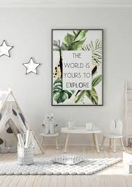 The World Is Yours To Explore Printable Art Tropical Kids Etsy In 2020 Kids Jungle Room Kid Room Decor Jungle Bedroom Kids