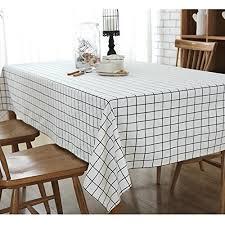 cotton linen white check tablecloth