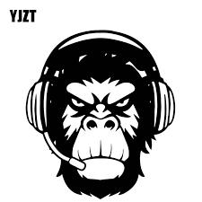 Yjzt 14cm 15 9cm Majestic Monkey Head Pattern Vinyl Decal Decorate Bumper Car Sticker Black Silver C4 1868 Car Stickers Aliexpress