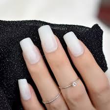 white matte false nail long flat shape