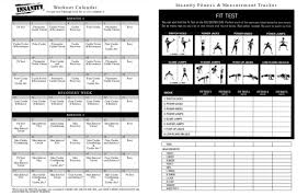 insanity workout calendar printable