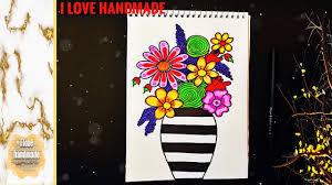Draw Flowers Floral Spring Bouquet رسم مزهرية ورد مميزة وجدابة