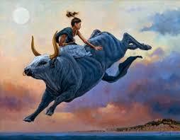 bull rider fantasy abstract