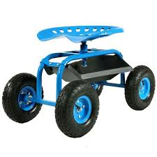 rolling garden cart with swivel seat