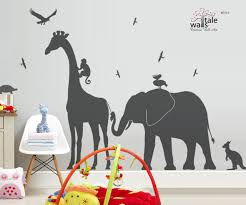 Zoo Line Large Giraffe Elephant Monkey Wall Decal Jungle Safari Nursery Theme Children Bedroom Kids Bedroom