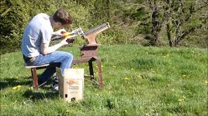 homemade clay pigeon thrower in action