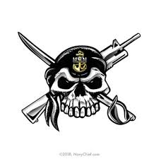 5 X 7 Skull And Crossed Cutlass And M4 Color Window Sticker Navychief Com